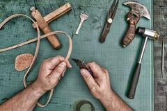 Artisan en cuir d'artisan Photographie stock libre de droits