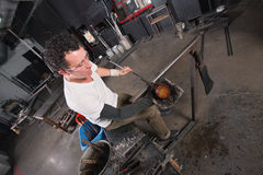 Artisan Handling Hot Glass Royalty Free Stock Photography