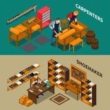 Artisan Isometric Banners Image libre de droits