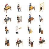 Artisan People Isometric Set. Artisan isometric set with baker glassblower carpenter tailor weaver potter shoemaker carpenter blacksmith sculptor ceramic artist Royalty Free Stock Image