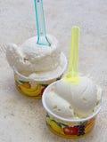 Artisan Italian icre cream in small tubs. Royalty Free Stock Photos