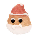 Artisan made Santa, Father Christmas biscuit isolated on white. Stock Photo