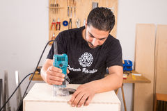 Artisan with a milling machine Royalty Free Stock Image