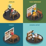 Artisan Occupation 2x2 Design Concept. With jeweler tanner ceramic artist and music workshop square icons isometric vector illustration Stock Image