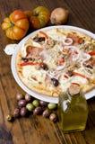 Artisan pizza. Artisan italian pizza over wood  table Stock Photo