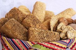 Artisan's bread and crackers basket Stock Photos