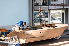Artisan at work in the construction of boat Royalty Free Stock Images