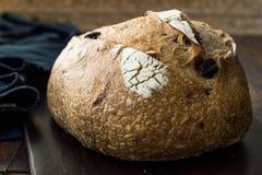 Artisanaal Bakkerij Geheel Brood met Okkernoot en Krenten en rozijnen royalty-vrije stock afbeelding