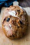 Artisanaal Bakkerijbrood met Droge Tomaten en Zwarte Olive Ready om te eten stock afbeeldingen