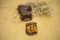 Artisanaal Chocoladeclose-up stock afbeeldingen