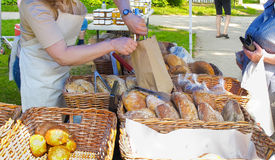 Artisanal Bread At Farmers Market Royalty Free Stock Image