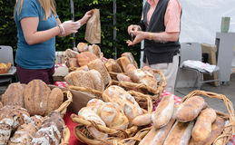 Artisanal Bread at Farmers Market Stock Images