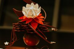 Artisanal chocolate edible flower design, chocolate structure made for sweets exhibition, France stock photography
