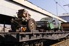 Artisanal gunnery and SVBIED of terrorists on a railway flatcar stock photos
