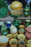Artisanal pottery from the Provence. Artisanal pottery in various shapes and colors from the Provence, France Stock Photography