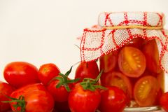Preparation of pickles of organic cherry tomatoes Stock Photo