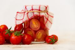 Preparation of pickles of organic cherry tomatoes Royalty Free Stock Image