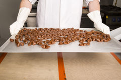 Artisanal production of caramel sweets butterscotch candies stock photo