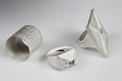 Artisanal silver rings Royalty Free Stock Images