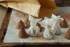 Artisanal truffles on cooking paper over backing tray Royalty Free Stock Photo