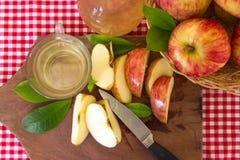 Artisanale voorbereiding van de gezonde organische azijn van de appelcider stock foto's