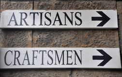 Artisans, creaftsmen signs Stock Images