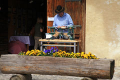 Artisans make craft in Gruyeres, Switzerland Royalty Free Stock Photos