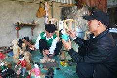 Artisans make water puppetry in Vietnam Stock Photography