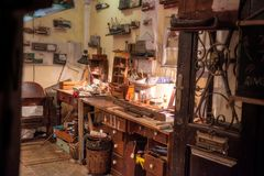 An artisans workshop in Dubrovnik by night Royalty Free Stock Images