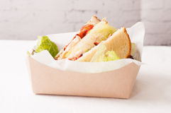 Artisinal clubhouse sandwich for take out. Food truck take out club sandwich, clubhouse style Stock Images