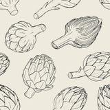 Artisjok naadloos patroon met hand getrokken schemainstallatie Contour vectorillustratie royalty-vrije illustratie