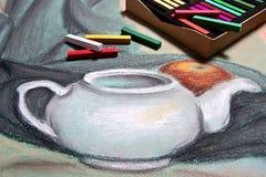Artist's pastell och original- pastellfärgad teckning av stilleben Royaltyfri Foto