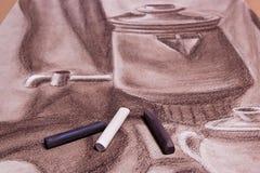 Artist's-Pastelle und ursprüngliche Pastellzeichnung des Stilllebens Stockbild