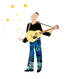 Artist. Man singing a song and golden stars Royalty Free Stock Photos