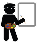 Artist. With blank canvas for own text or graphics Royalty Free Stock Image