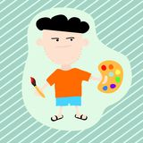 Artist. Cartoon illustration with an artist, holding brush and palette Vector Illustration