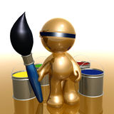 Artist 3d humanoid icon. Artist with paint brush 3d humanoid icon illustration Royalty Free Stock Photography