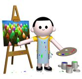 Artist. 3D illustration of a male person painting Stock Image