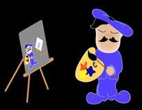 Artist. Painting self portrait of  painting self portrait.Illustration Stock Image