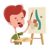 Artist abstract painting  illustration cartoon character. Enjoy Stock Photography