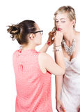 Artist Applying Makeup To Bride Stock Images