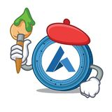 Artist Ardor coin character cartoon. Vector illustration Stock Photography