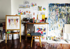 Artist artworks in the workplace hobby pastime Royalty Free Stock Images