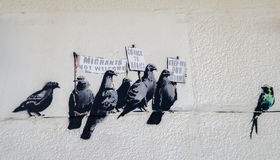 The artist Banksy controversial art work. Stock Image