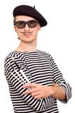 The Artist with Beret and Brushes. French artist in beret with three brushes Stock Photography