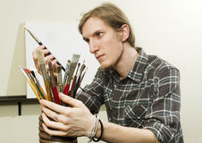 Artist with blank canvas Royalty Free Stock Photo