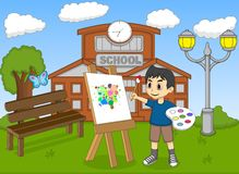 Artist boy painting on canvas in front of his school cartoon Royalty Free Stock Photos