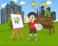 Artist boy painting on canvas in the park cartoon Stock Image