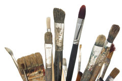 Artist brushes. Close-up image of painting artist brushes. Focus on middle brush in the first row Royalty Free Stock Photography