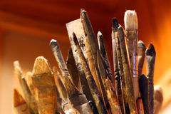 Artist Brushes. A lot of paint brushes from an artist's atelier Stock Photo